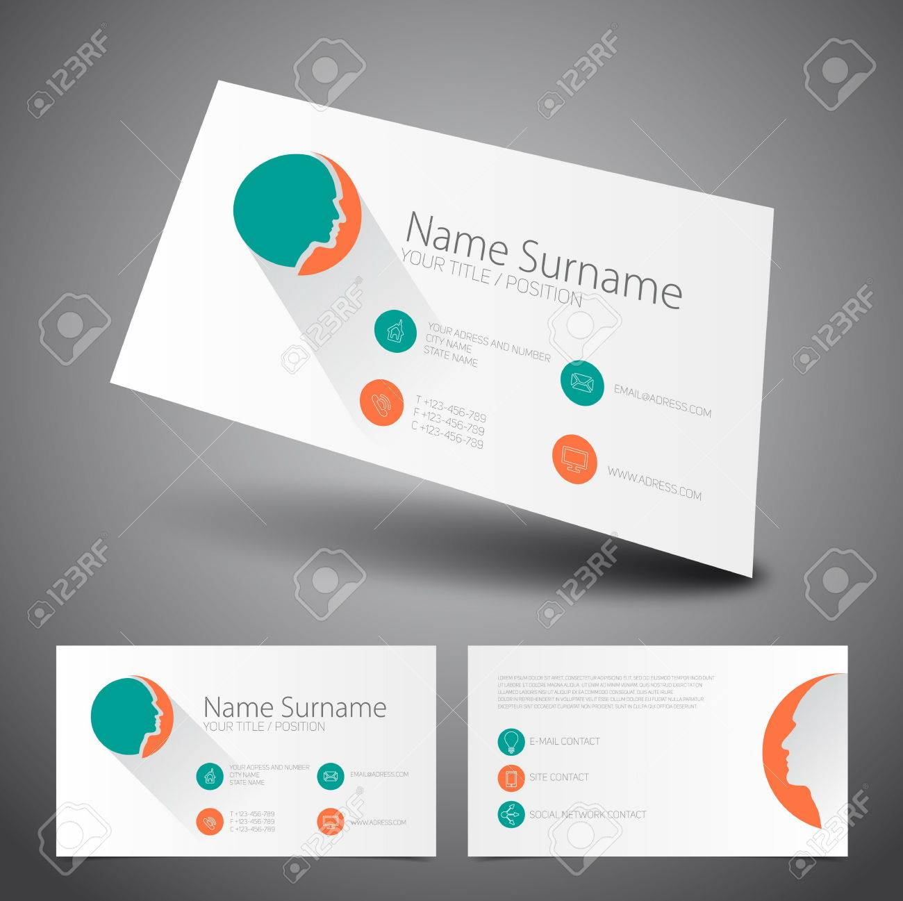 Simple design business card choice image free business cards modern simple business card flat ui vector template royalty free modern simple business card flat ui magicingreecefo Images