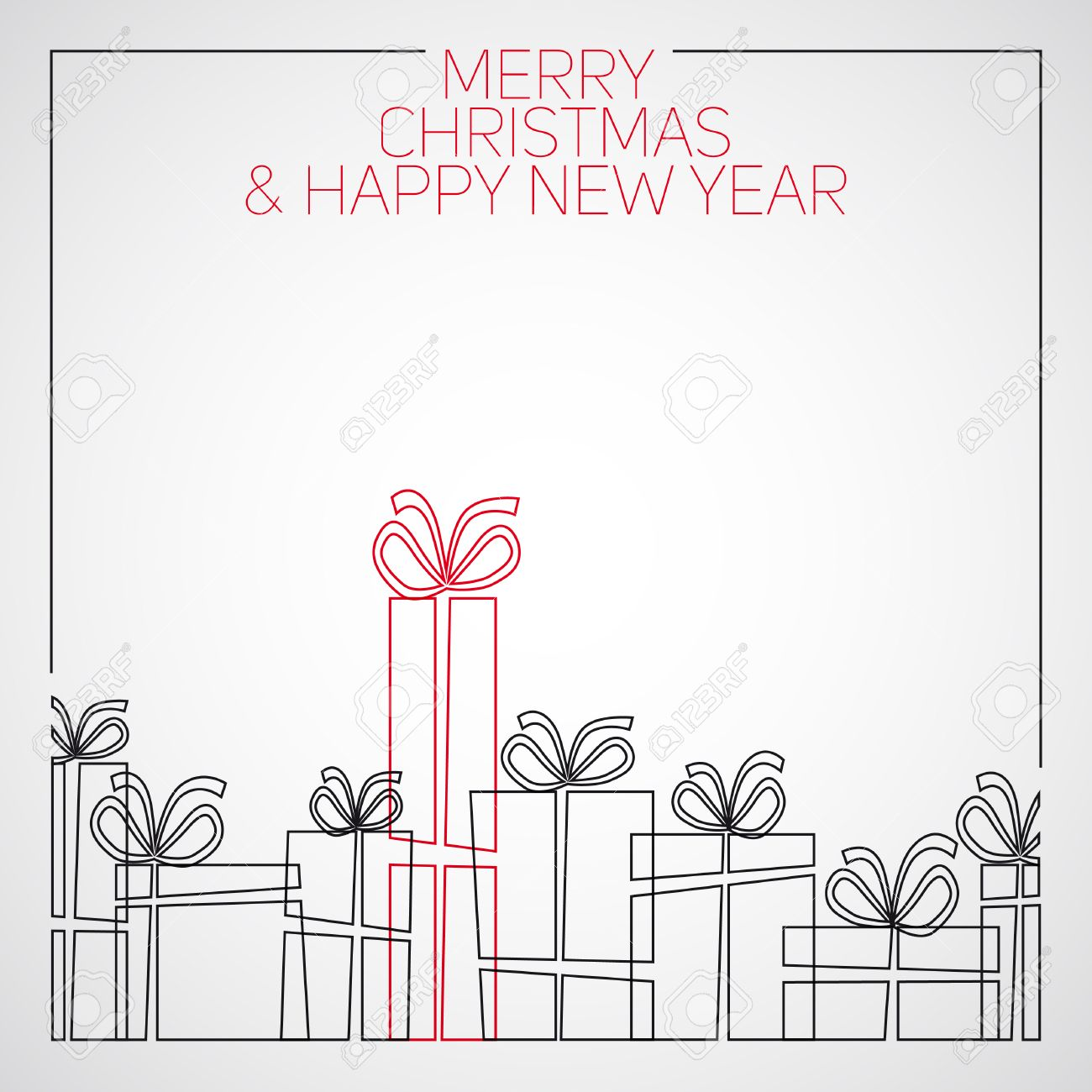 Drawings Of Christmas Presents.Vector Simple Line Drawing Christmas Card Christmas Presents