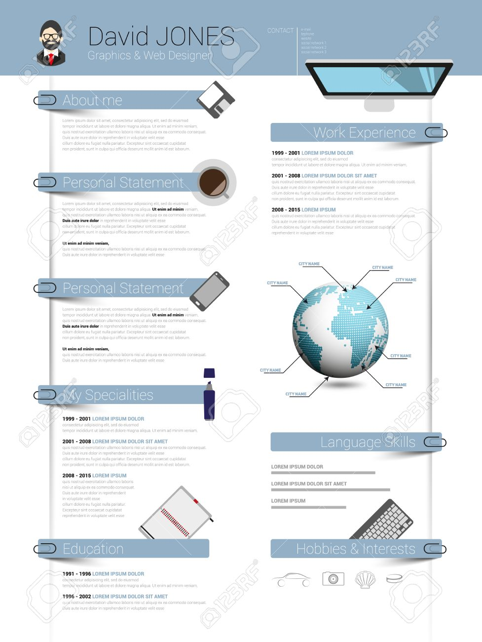 Reanudar Plantilla Cv Minimalista Con Elementos De Diseño De Planos ...