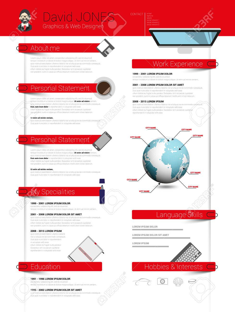 Resume Minimalist Cv Template With Flat Design Items Royalty Free ...