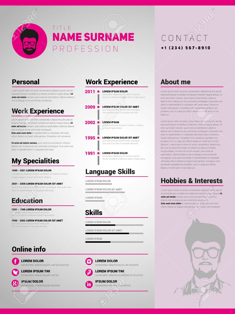 resume template minimalist cv vector design stock vector 44831849 - Minimalist Resume Template