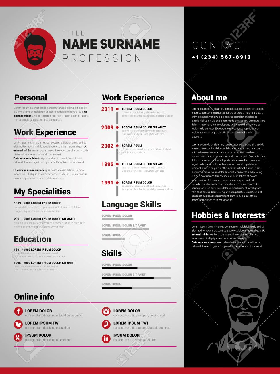 resume template minimalist cv vector design stock vector 44832069 - Minimalist Resume Template