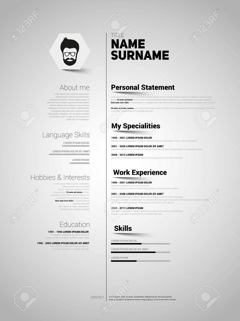 resume Resume Simple minimalist cv resume template with simple design vector royalty stock 44832776