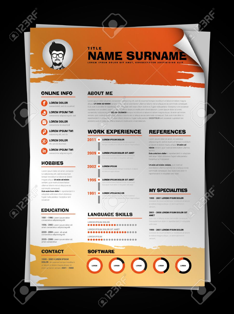 minimalist cv on paper sheet with curl corner resume template