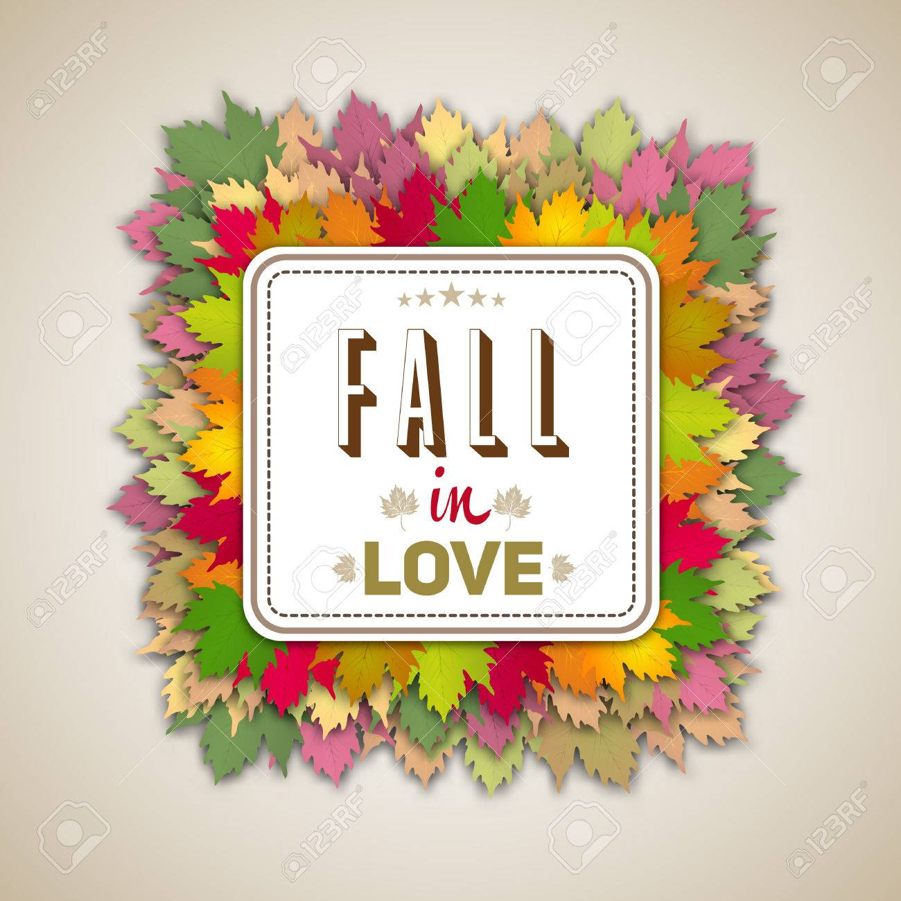 Fall In Love Quote, Autumn Leaves Background Heart Theme Stock Vector    46493507