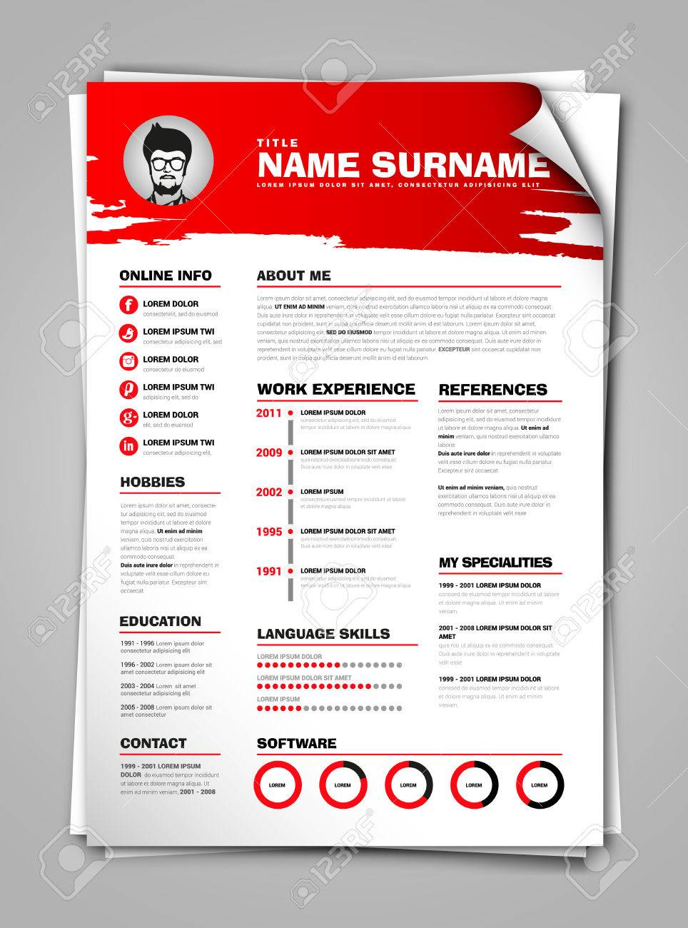 Minimalist Cv On Paper Sheet With Curl Corner Resume Template With