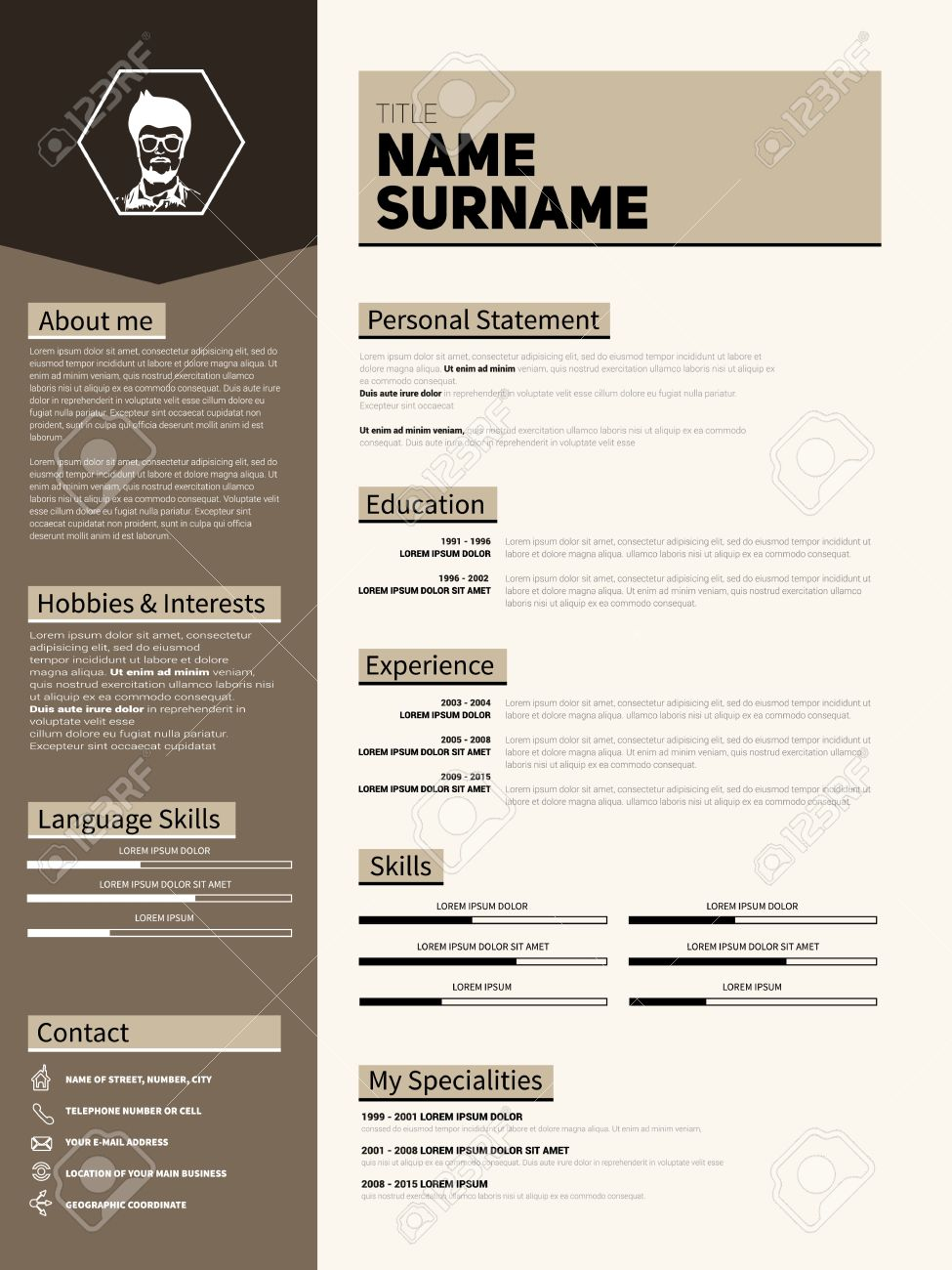 minimalist cv resume template with simple design royalty free