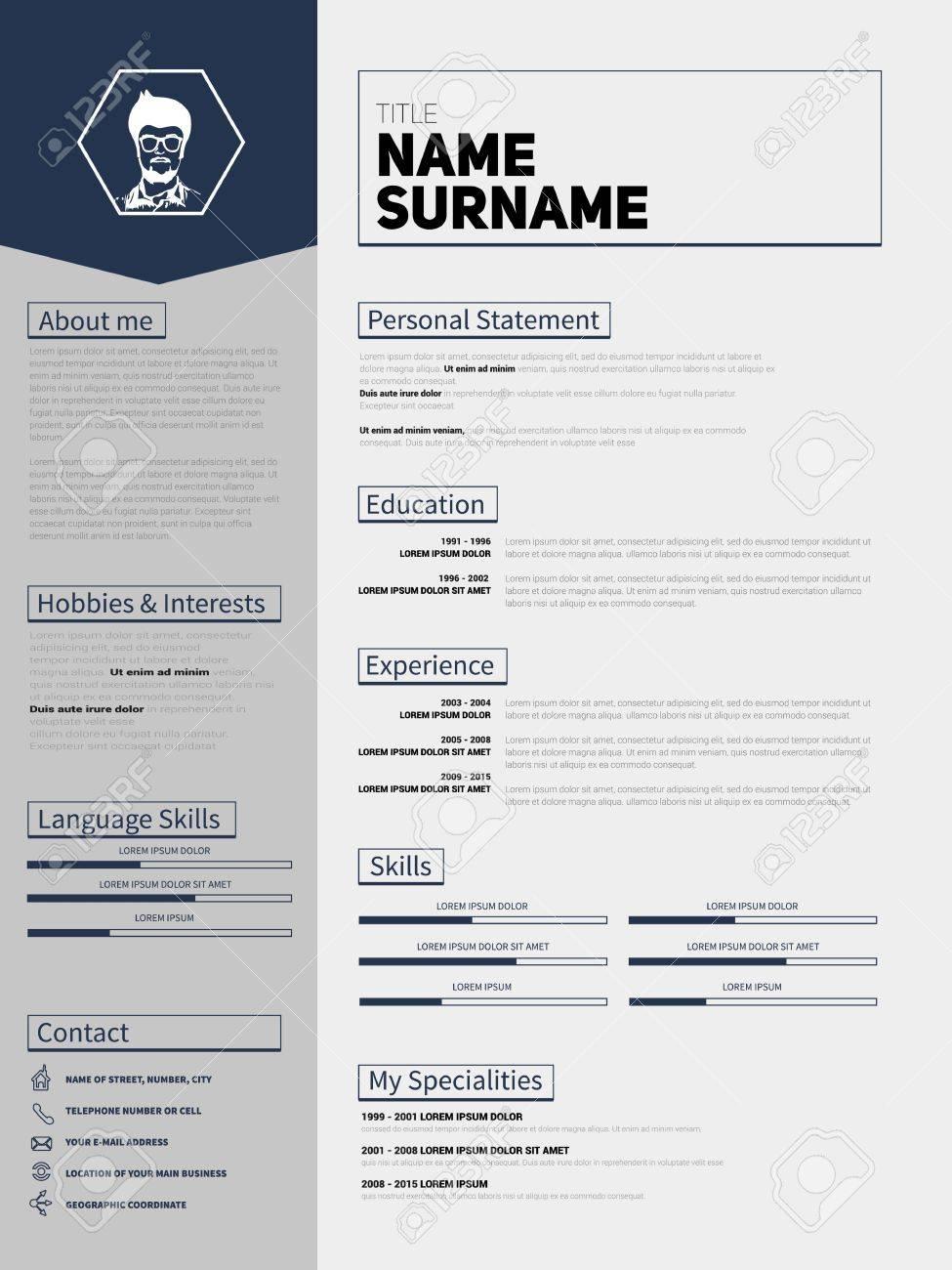 Minimalista CV, Plantilla Curriculum Vitae Con Diseño Simple ...