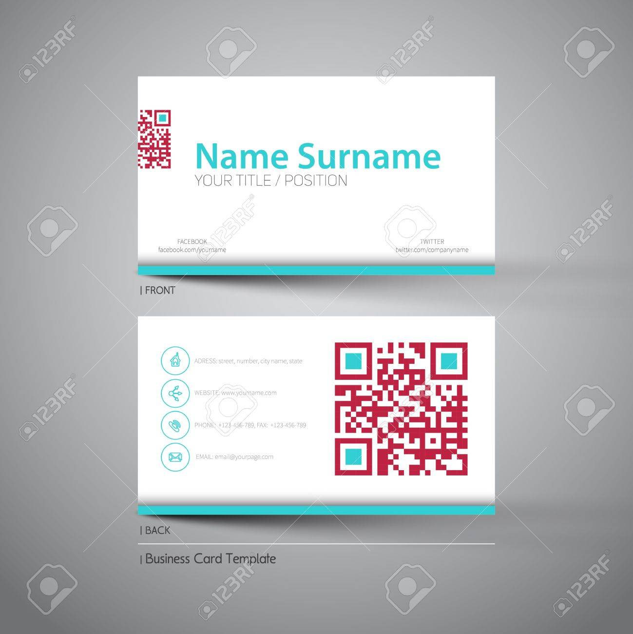 Modern simple light business card template with big qr code royalty modern simple light business card template with big qr code stock vector 48144454 flashek Images