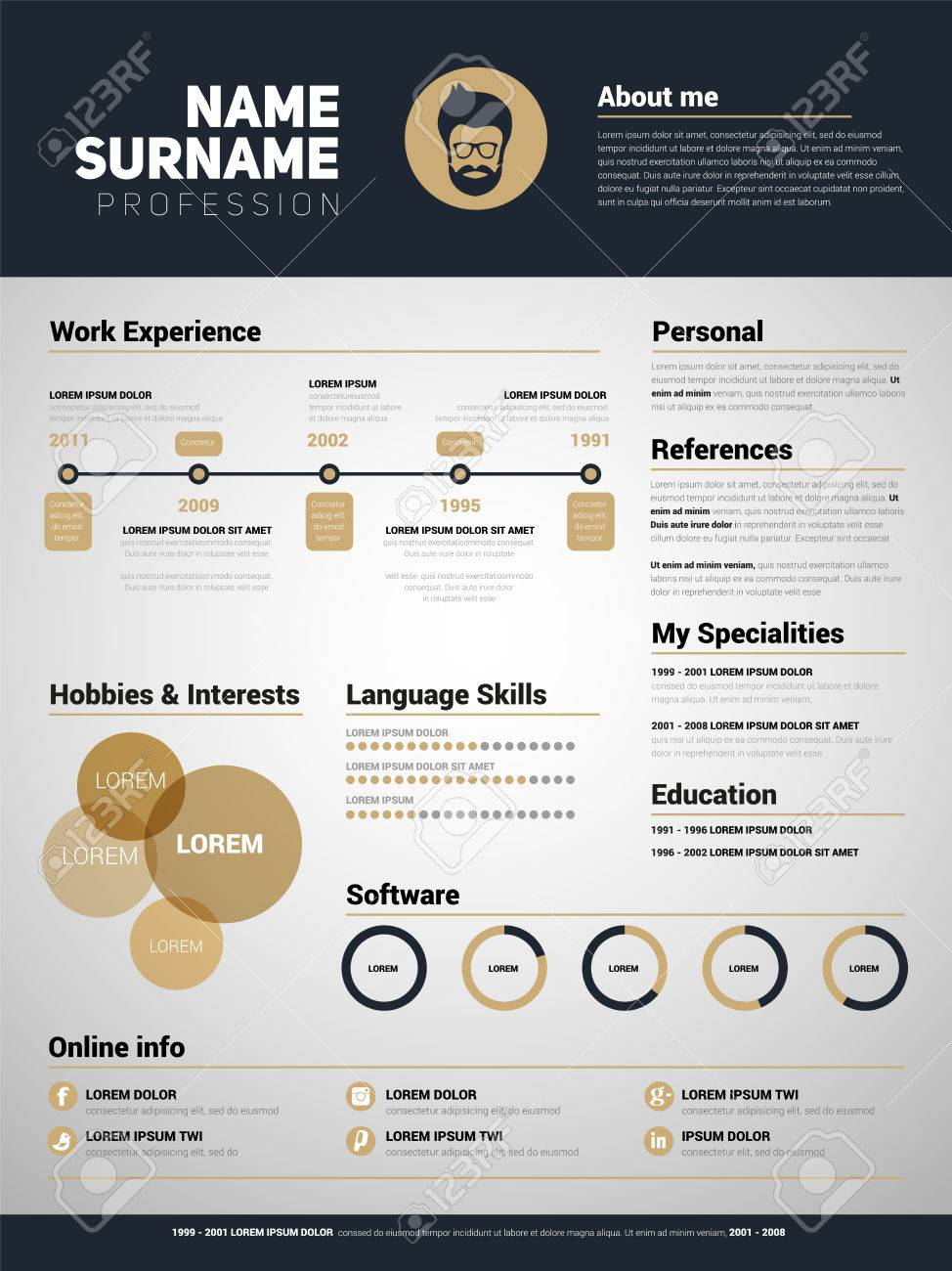 Minimalist CV, Resume Template With Simple Design Royalty Free ...
