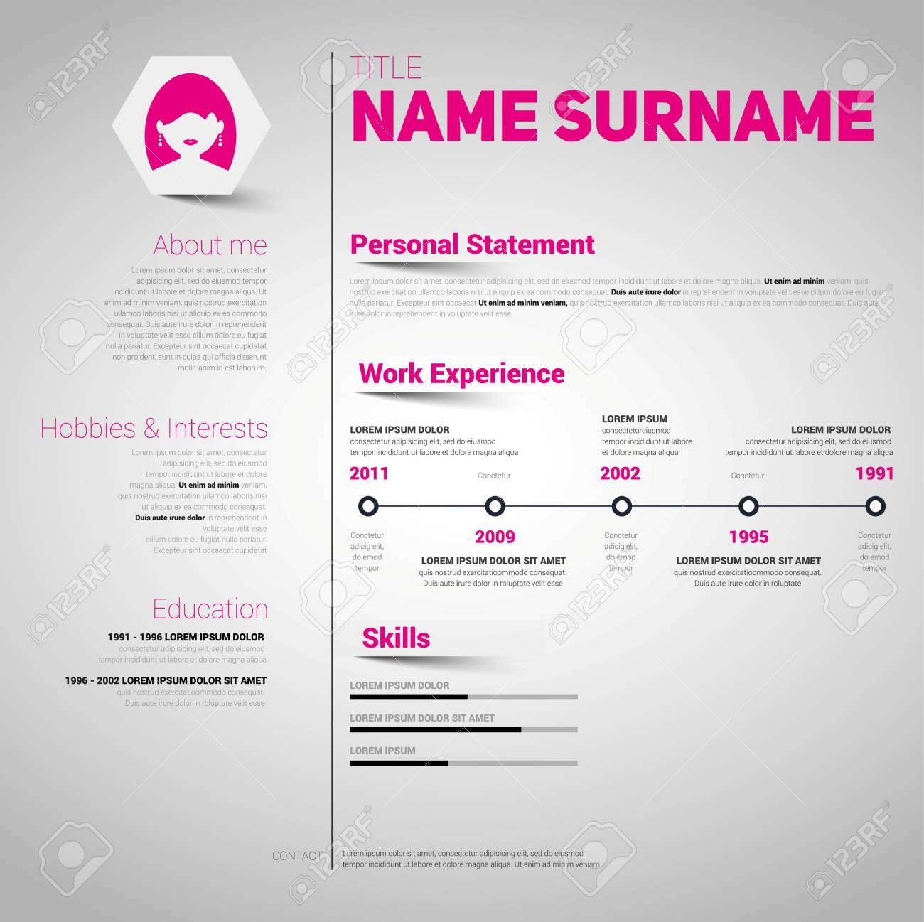 Minimalist CV, Resume Template With Simple Design, Vector Royalty ...