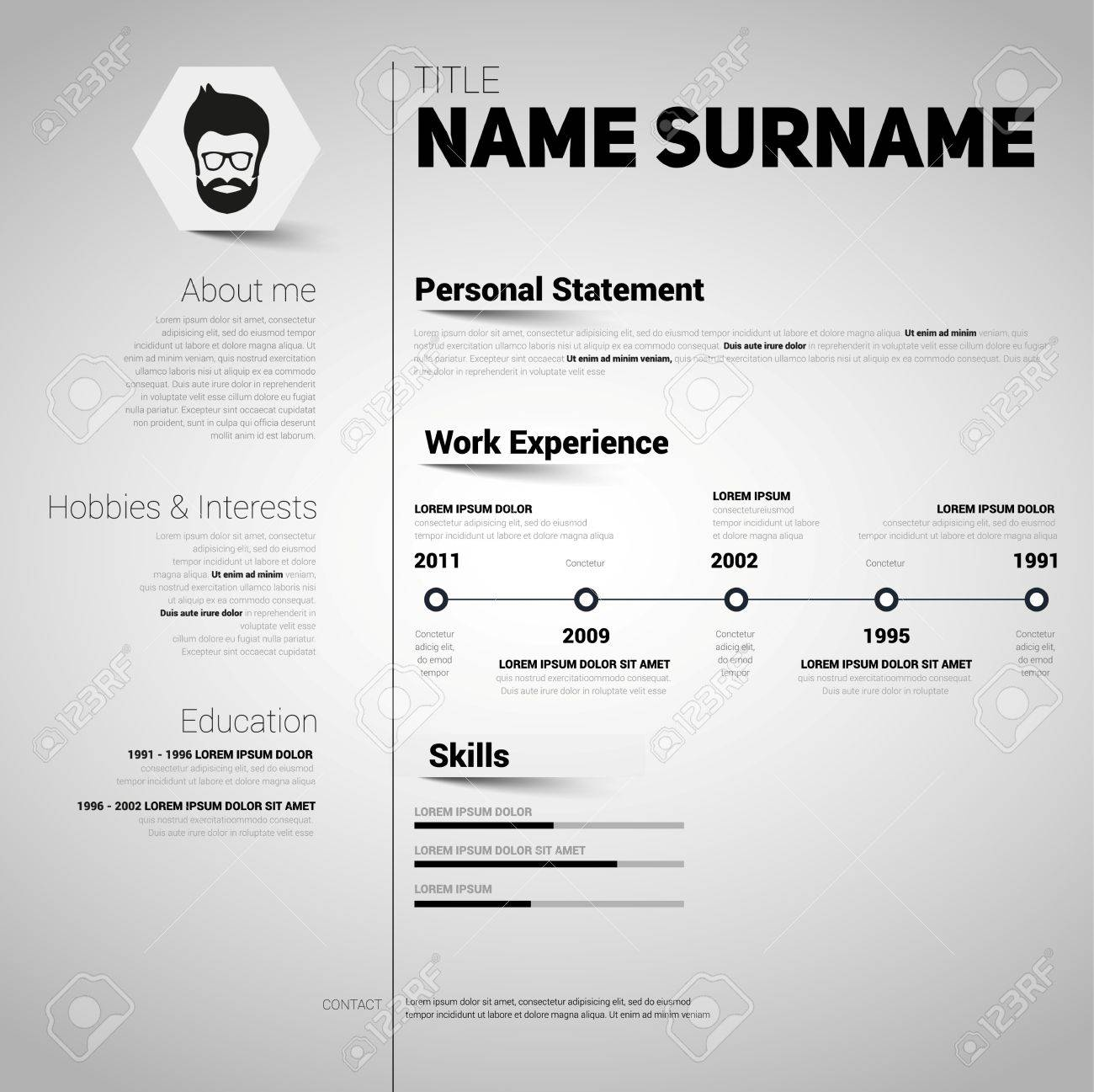 Minimalist Cv Resume Template With Simple Design Vector Royalty