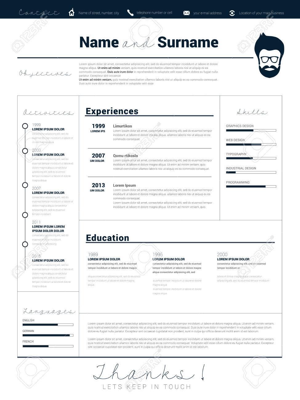 Minimalista CV, Plantilla Del Curriculum Vitae Con Un Diseño Simple ...