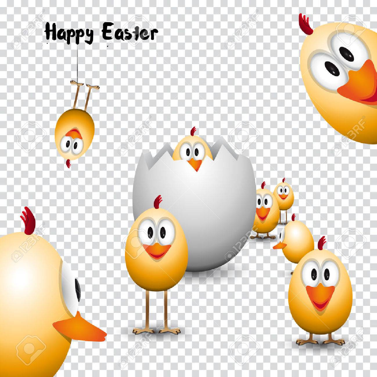 Funny easter eggs chicks happy easter card illustration on funny easter eggs chicks happy easter card illustration on trasparent background stock vector kristyandbryce Choice Image