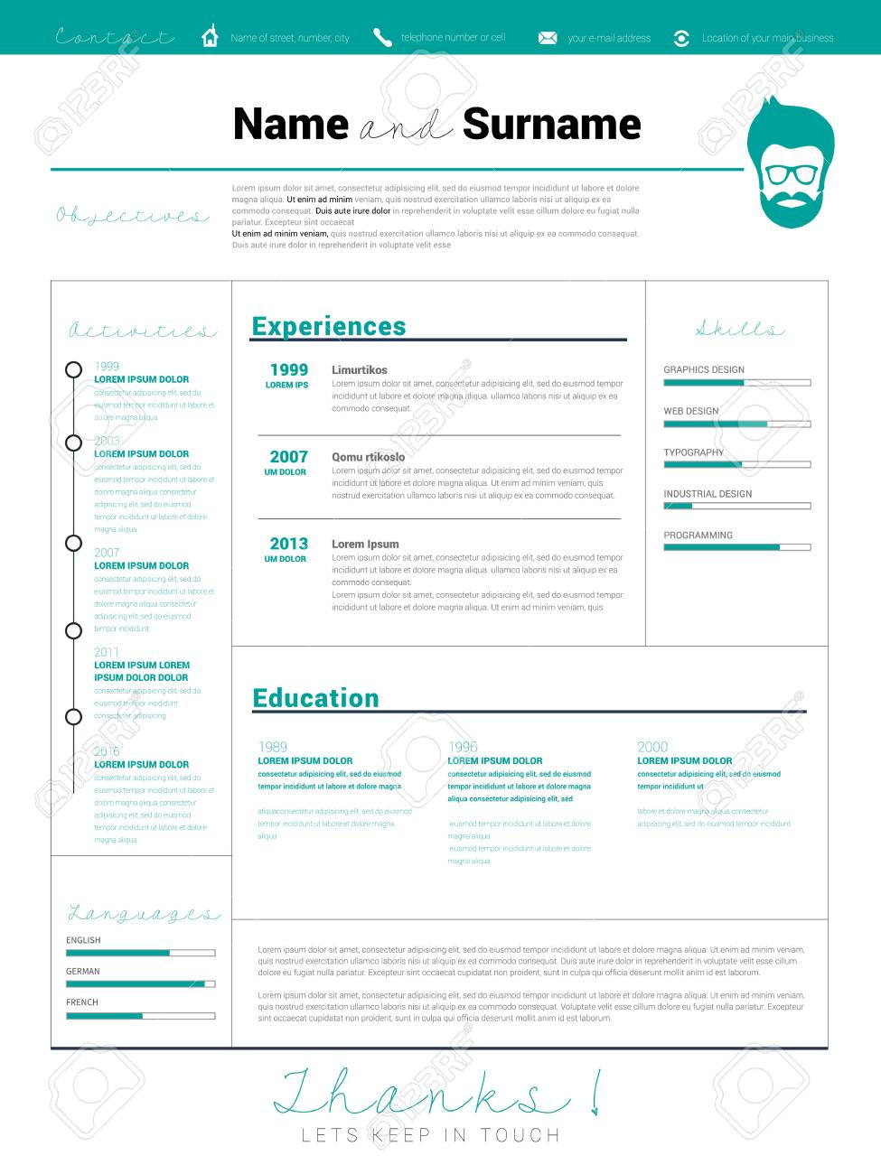 Minimalist Cv Resume Template With Simple Design Vector Cv