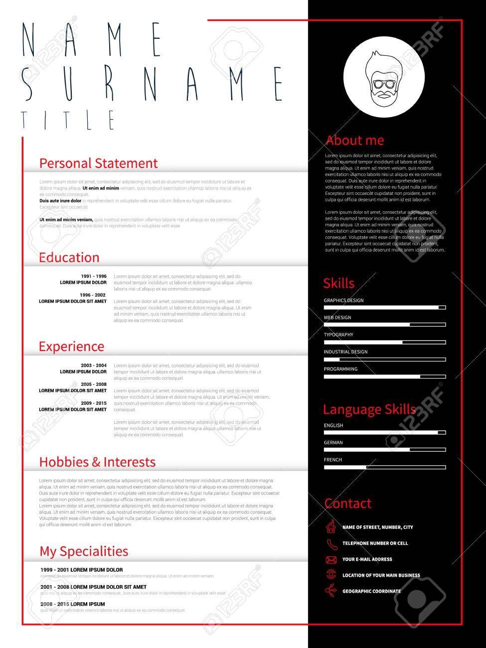 Minimalista CV, Plantilla Del Curriculum Vitae Con Un Diseño ...