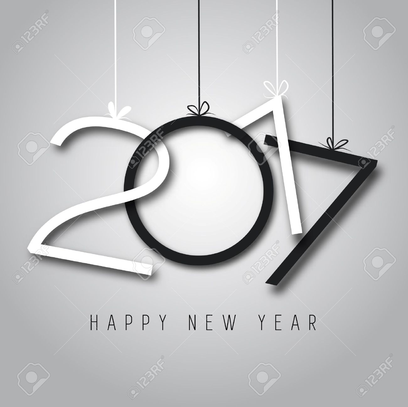 Happy New Year, 2017, black and white colors - 65806927