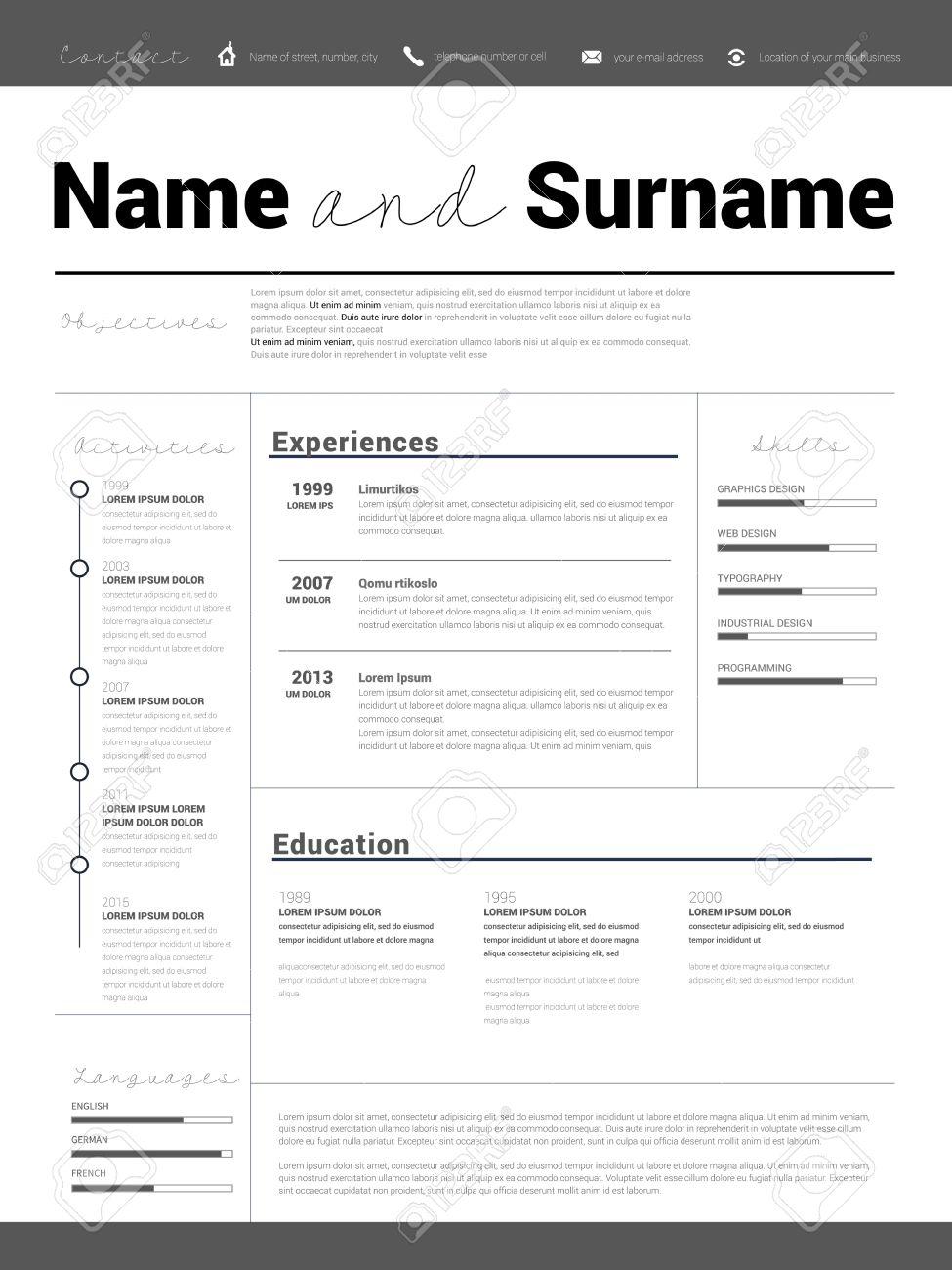 Riprendi Minimalista CV Modello Di Curriculum Con Un Design