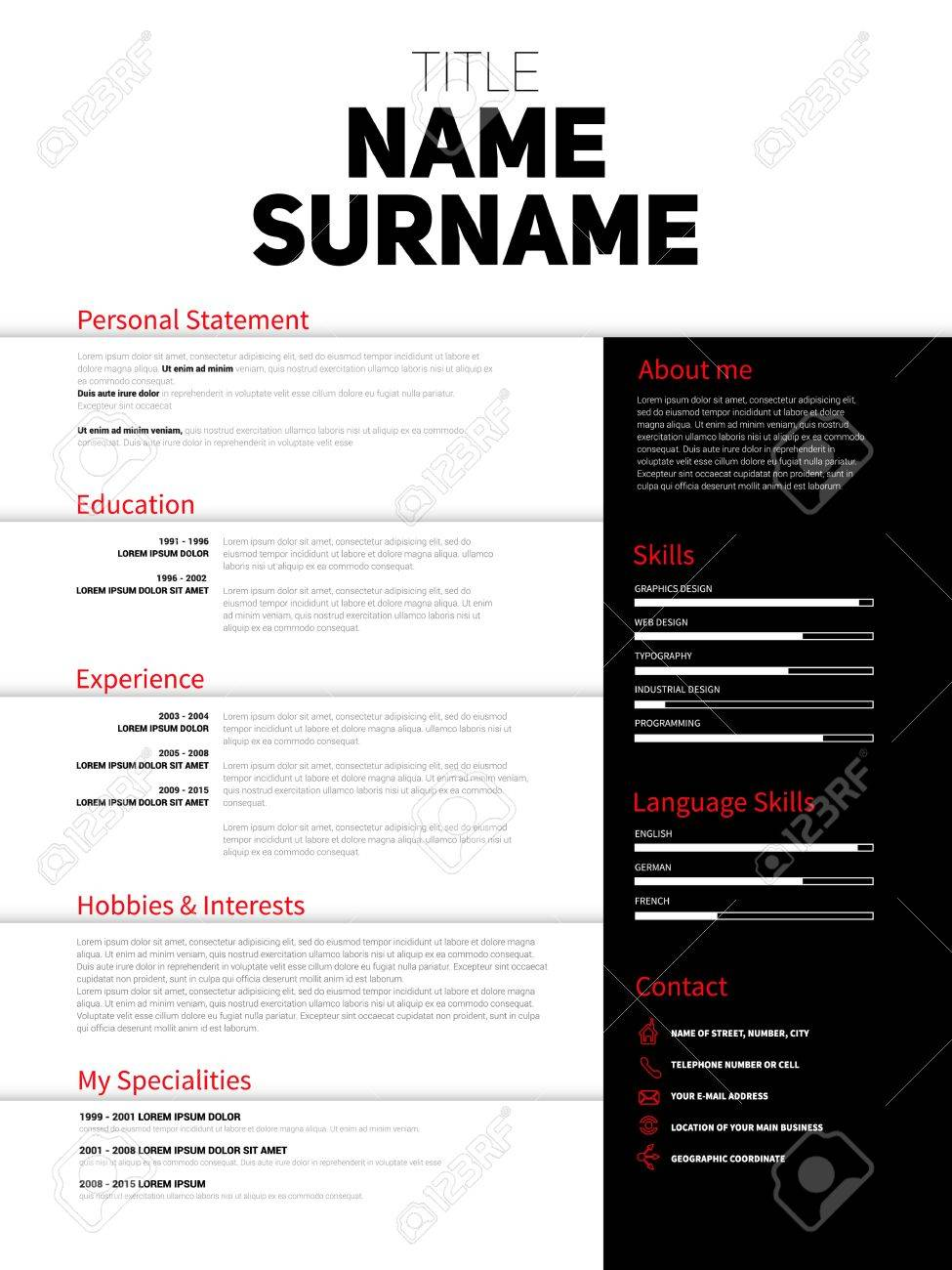 resume minimalist cv resume template with simple design company application cv curriculum vitae - Minimalist Resume Template