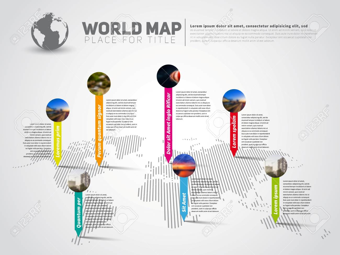 Simple world map infographic communication template with pointer simple world map infographic communication template with pointer marks light vector version stock vector gumiabroncs Images