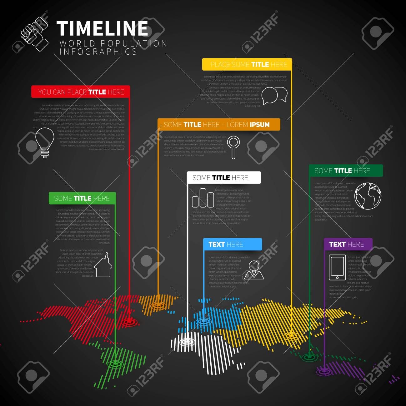 Infographic timeline report template with icons and labels world infographic timeline report template with icons and labels world map vector illustration dark gumiabroncs Images