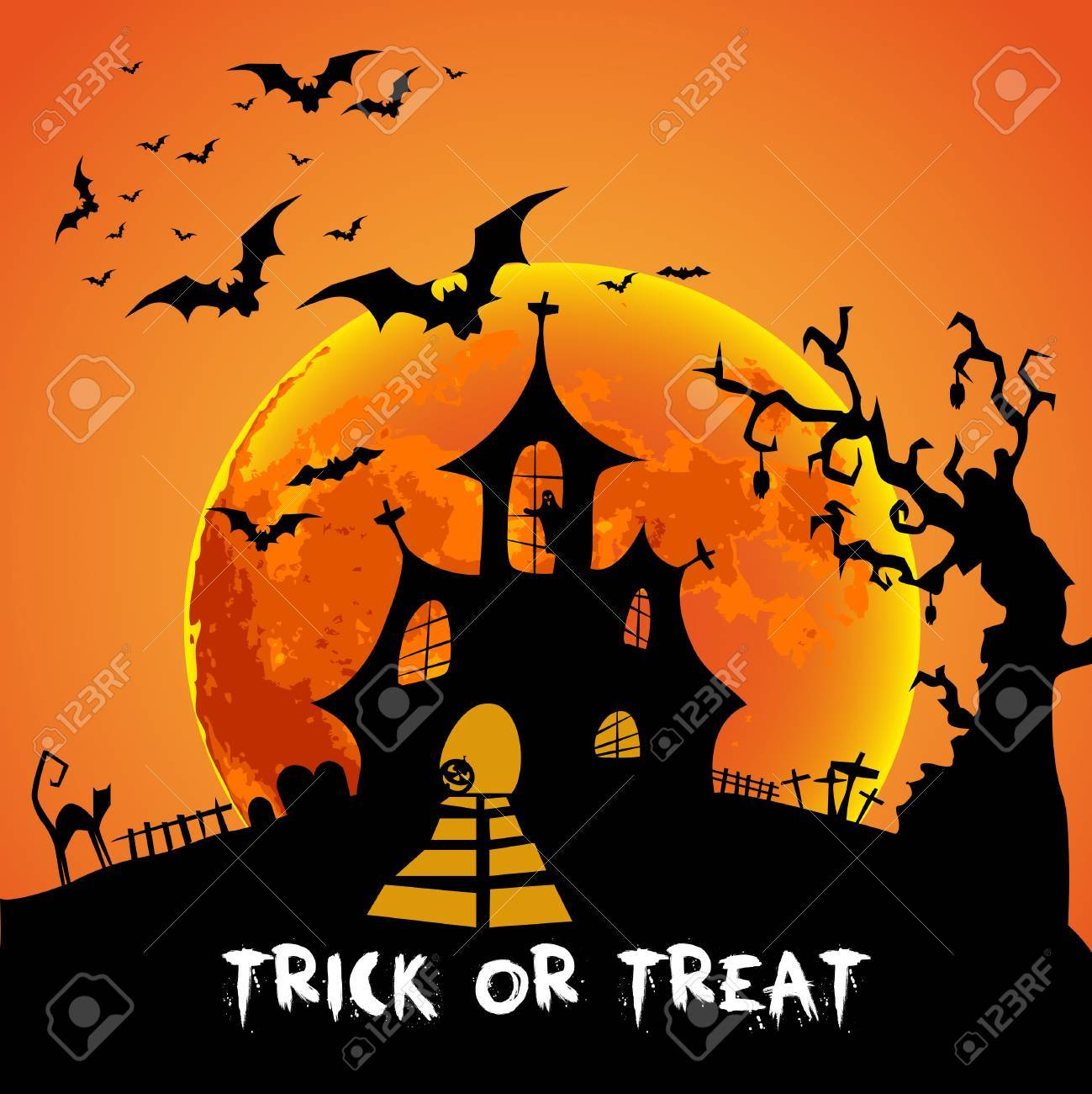 Happy Halloween Card Template, Mix Of Various Spooky Creatures, Moon And  Castle, Vector