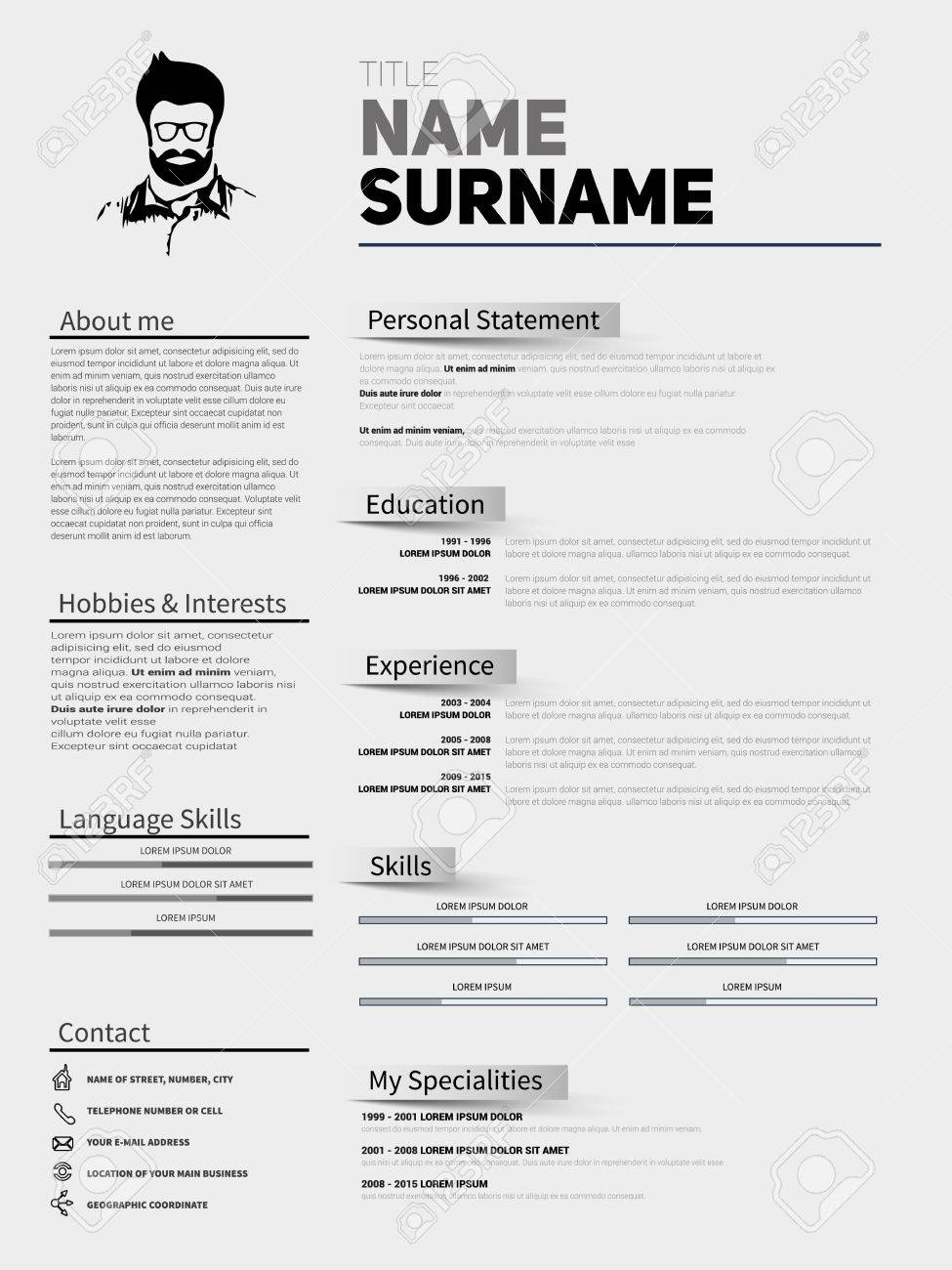 Resume Minimalist Cv Resume Template With Simple Design Company Application Cv Curriculum Vitae Resume Business Sheet