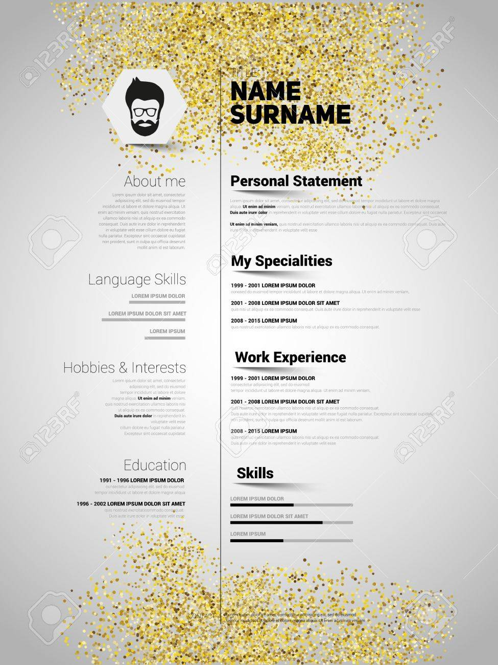 Resume Minimalist Cv In Gold Glitter Style Resume Template With