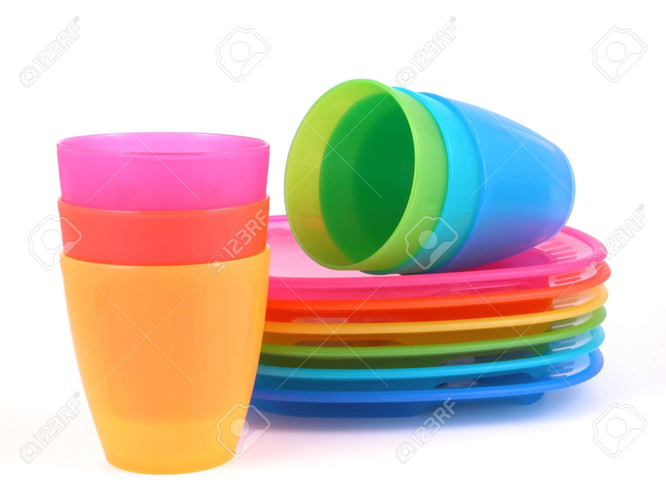 Stack Of Plastic Cups And Plates   Perfect For Picnic Stock Photo   450084