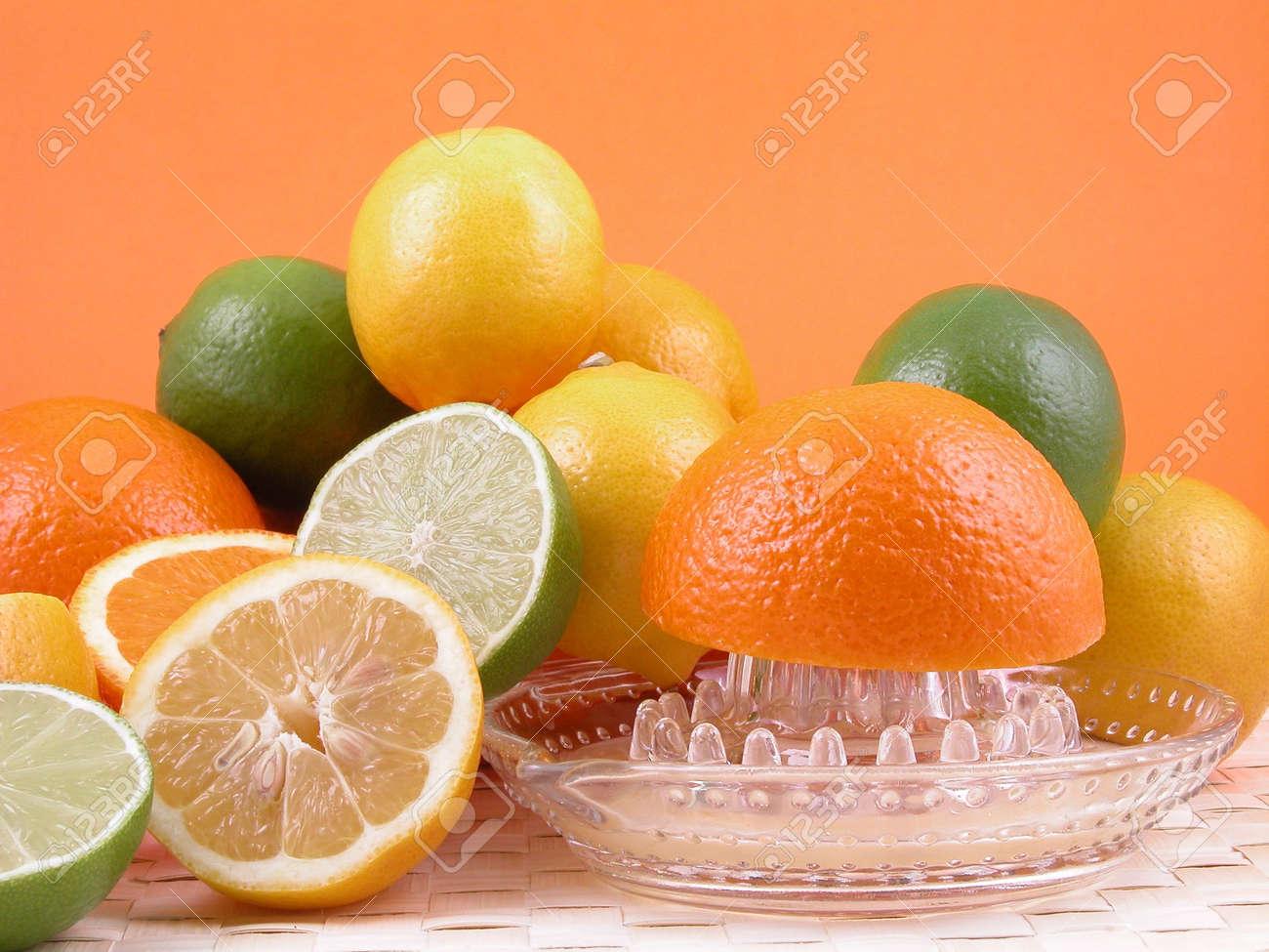 multivitamins natural juice - oranges lemons and limes Stock Photo - 471515