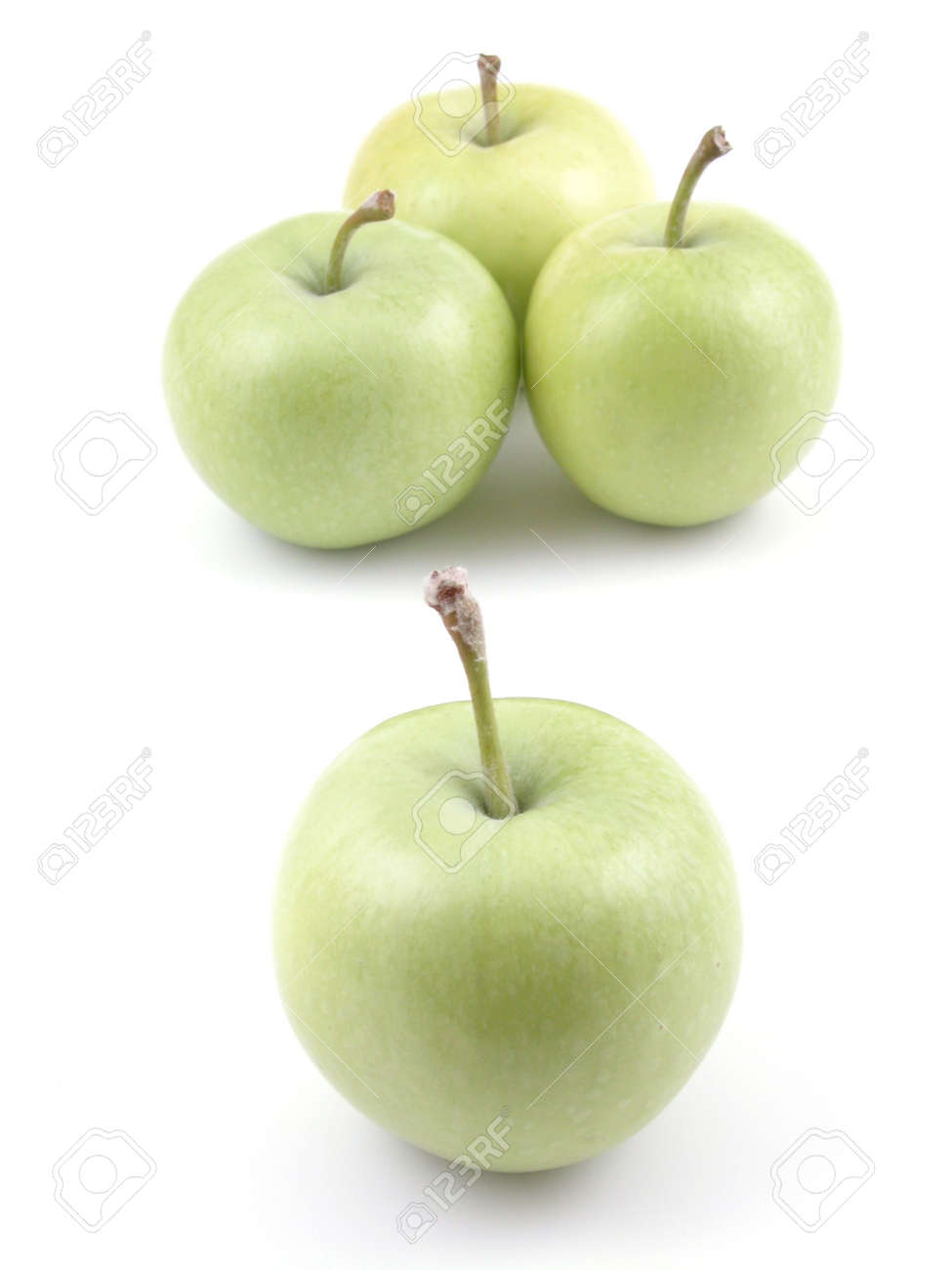 four green apples isolated on white Stock Photo - 477553