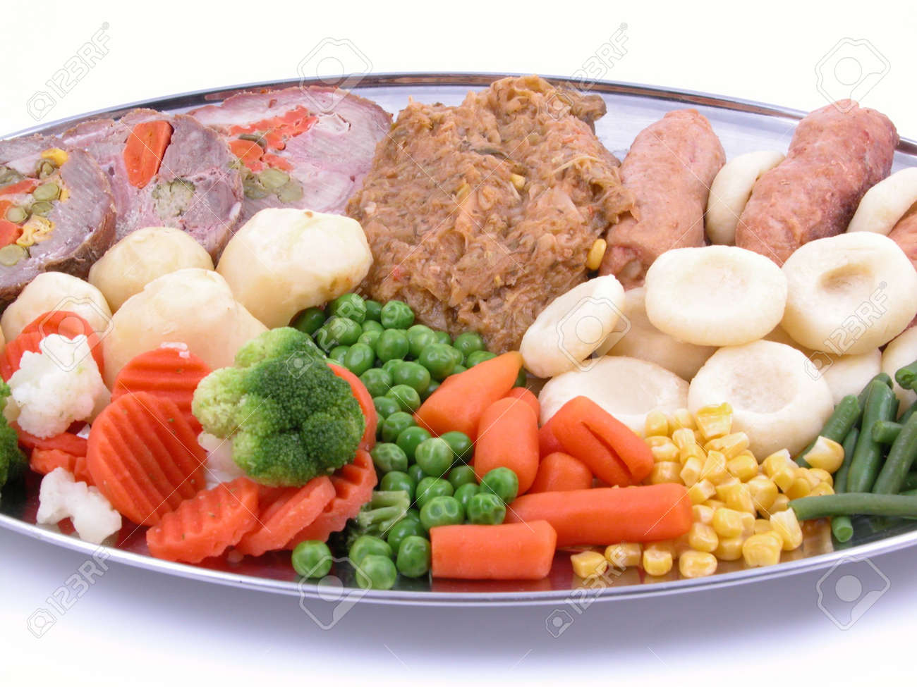 plate full of cooked vegetables and meat Stock Photo - 518877