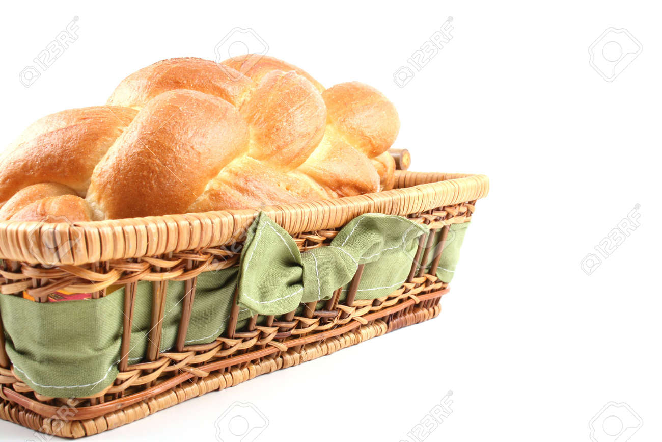 basket of challah bread isolated on white Stock Photo - 563368
