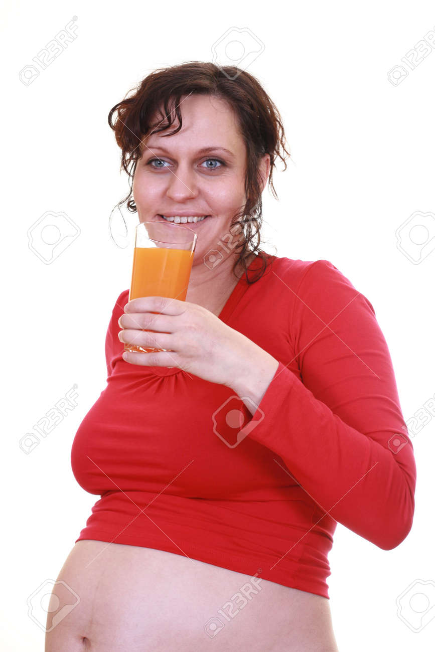 pregnant young beauty woman with glass of juice isolated on white Stock Photo - 622230
