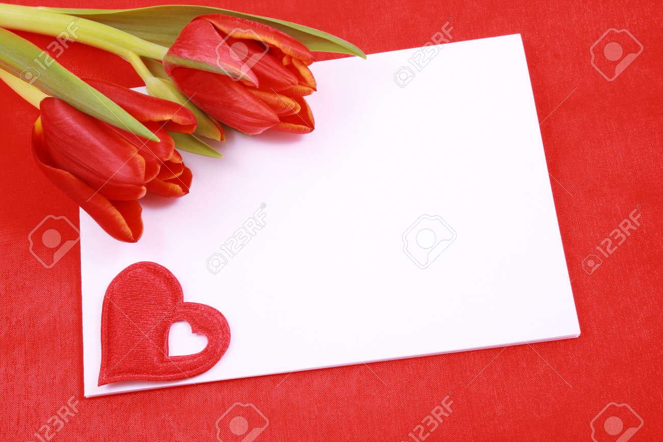 leave a romantic message - paper tulip and red heart Stock Photo - 730642