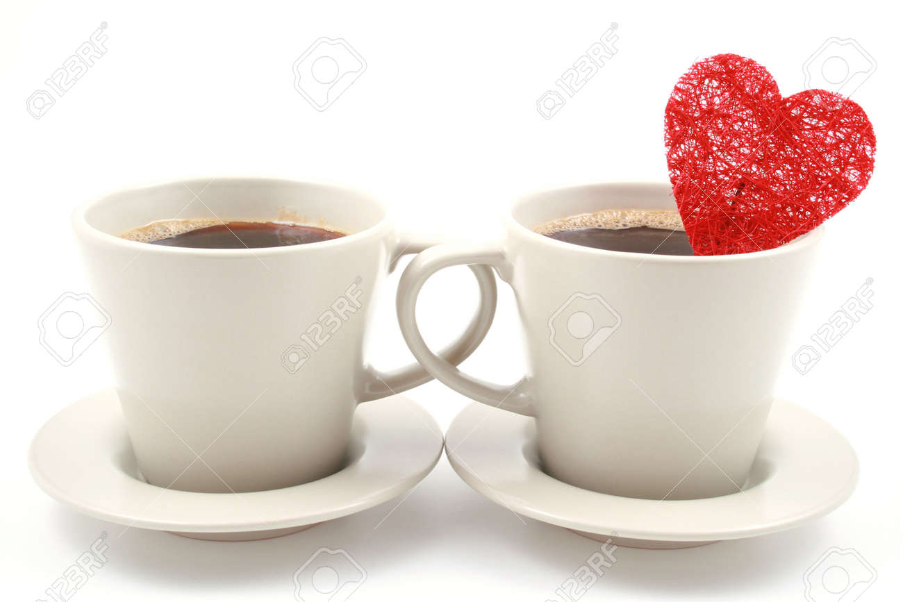 two cups of coffe with red heart isolated on white Stock Photo - 742929