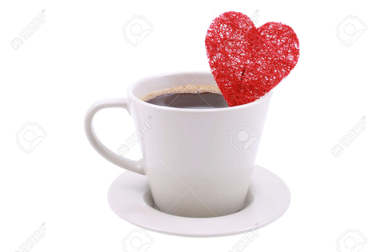 cup of coffe with red heart isolated on white Stock Photo - 753278