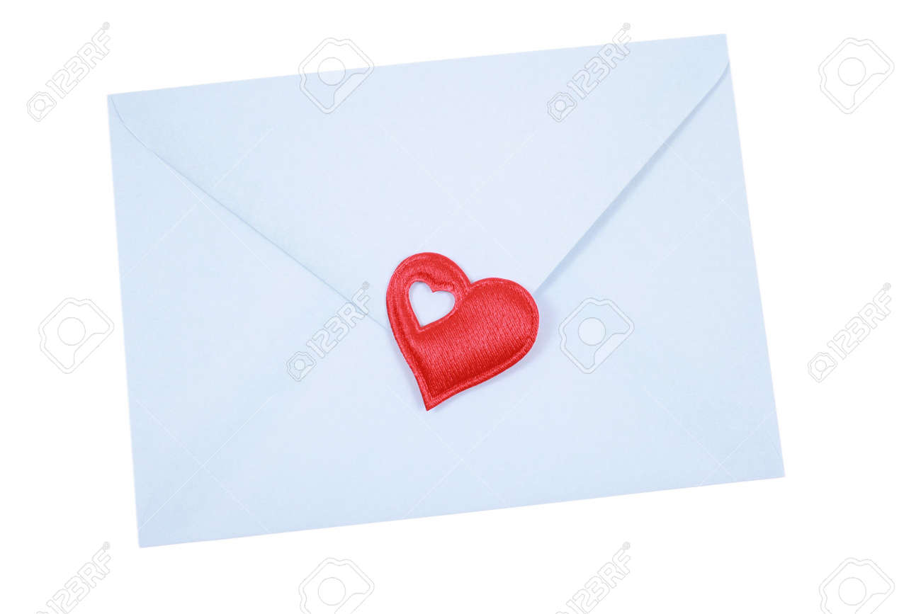 blue envelope with red heart isolated on white Stock Photo - 753261