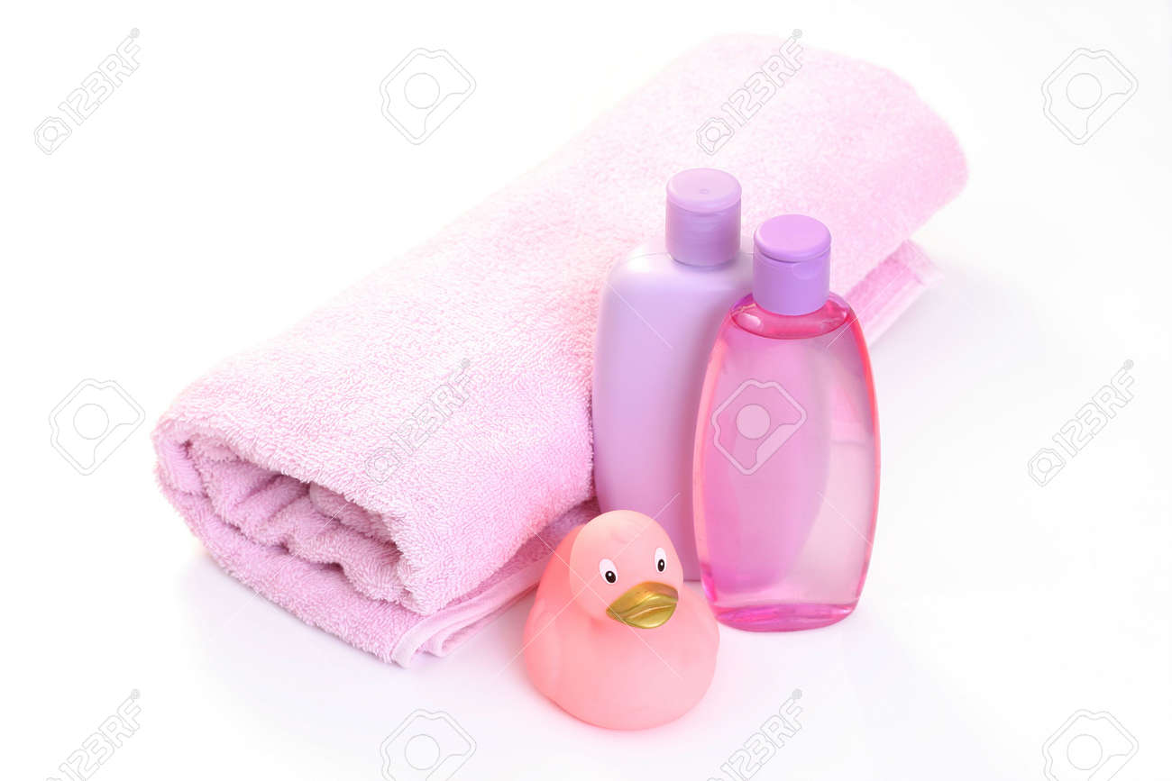 Baby Bath Accessories In Pink - Body Care Stock Photo, Picture And ...