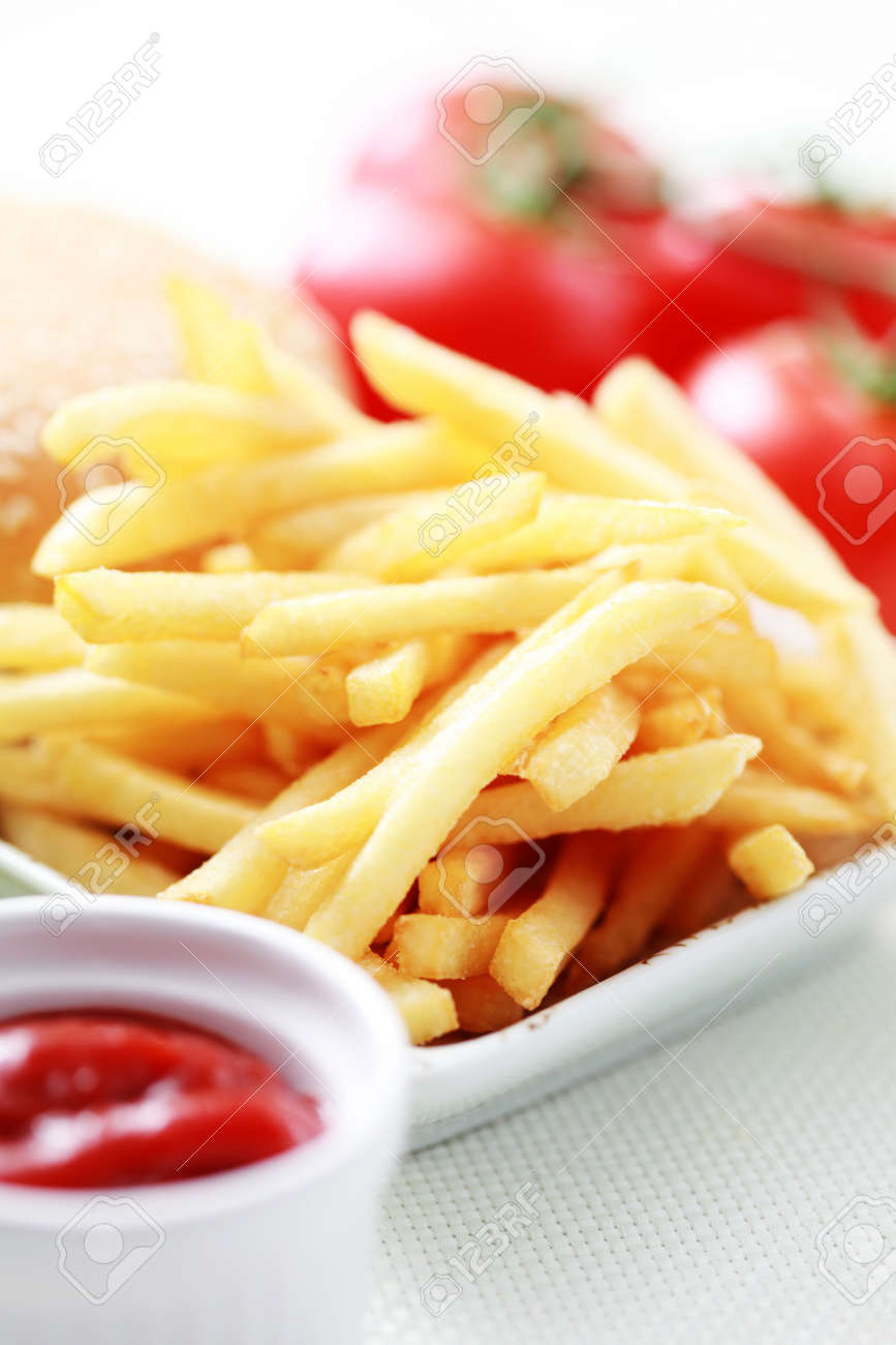 french fries and some burger - food and drink Stock Photo - 10180020