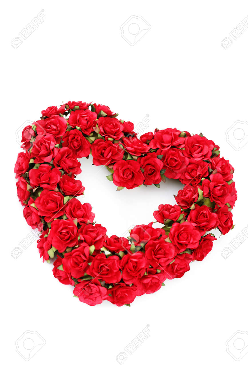 Red Roses Heart On White Background Flowers And Plants Stock Photo