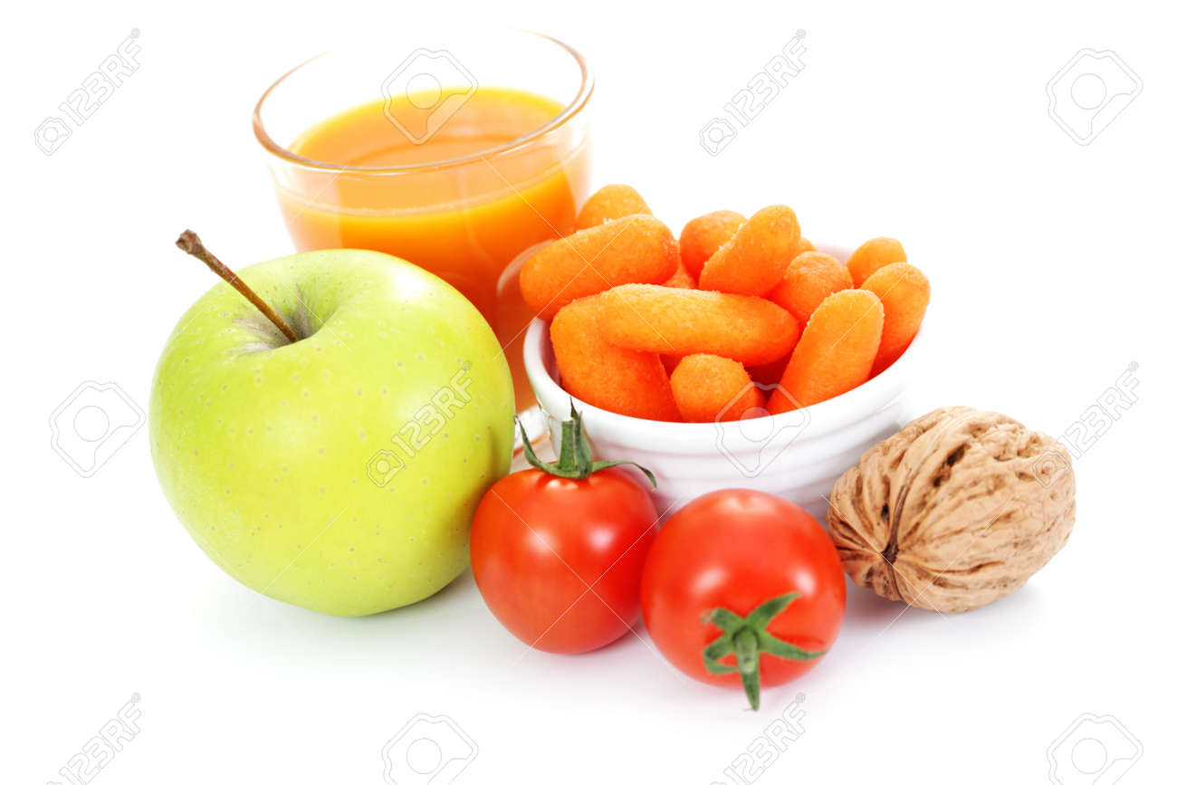 fresh and delicious fruits and vegetable as a snack - diet and breakfast Stock Photo - 12391870