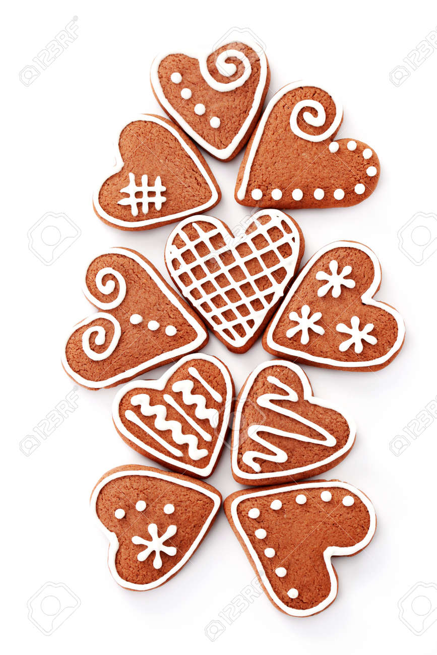 Gingerbread Hearts On White Background Sweet Food