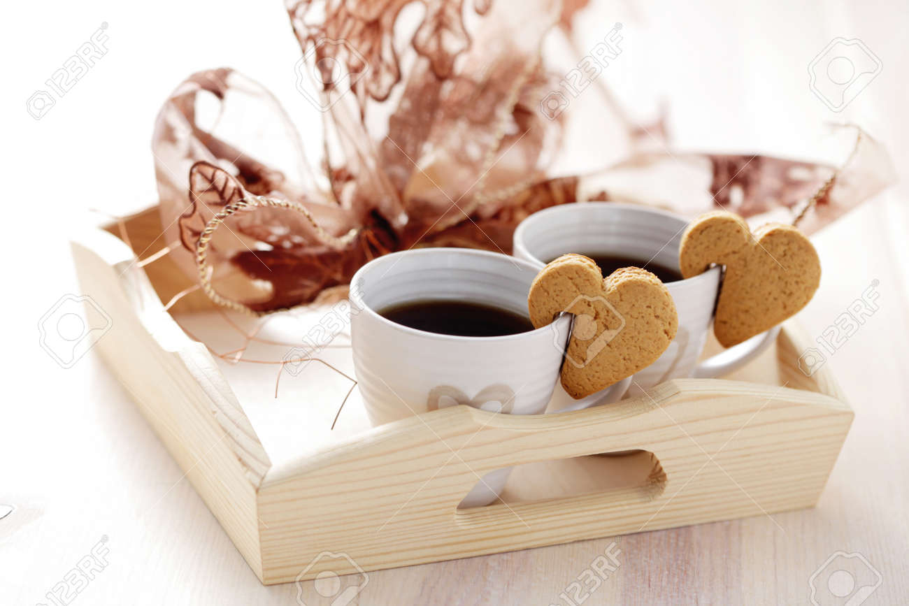Cookie Coffee Cups Coffee For Two With Cookie Coffee Time Stock Photo Picture And