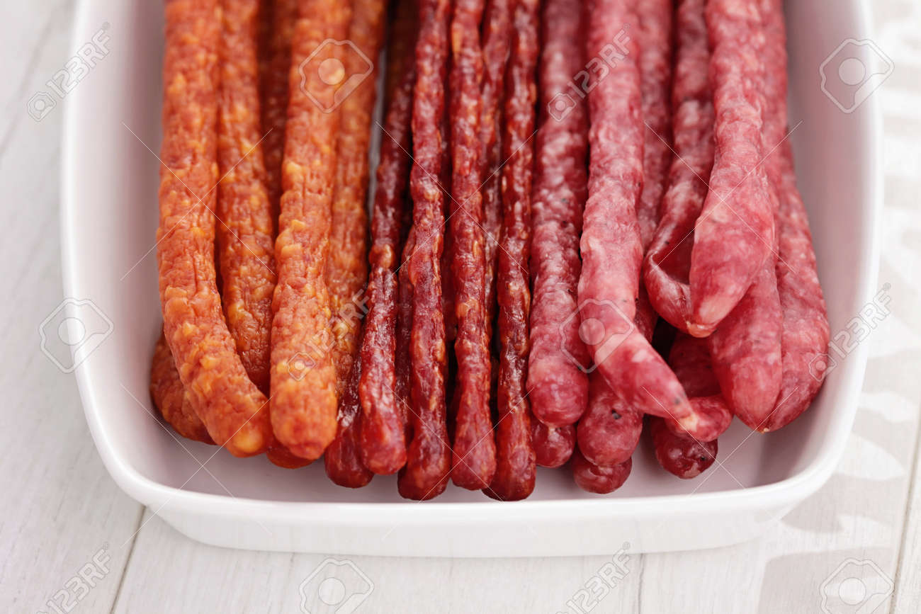 Polish Long Thin Dry Sausage Made Of Pork And Beef Stock Photo 27539355