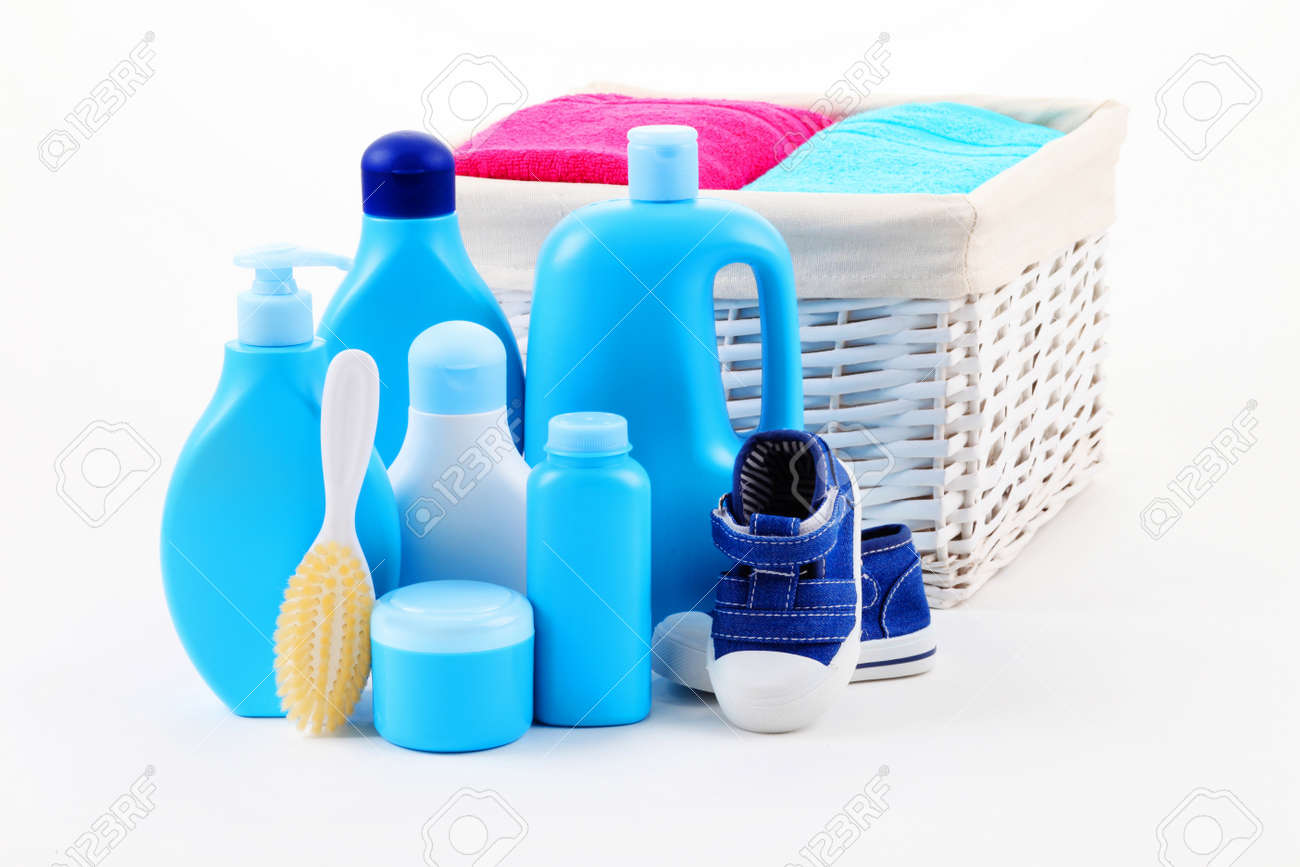 All You Need For Baby Bath - Baby Accessories - Children Stock Photo ...