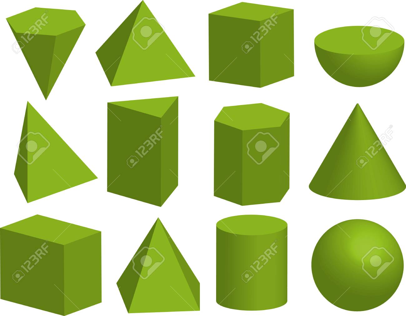 Basic 3d geometric shapes. Geometric solids. Pyramid, prism, polyhedron, cube, cylinder, cone, sphere, hemisphere. Isolated on white background. - 90381352