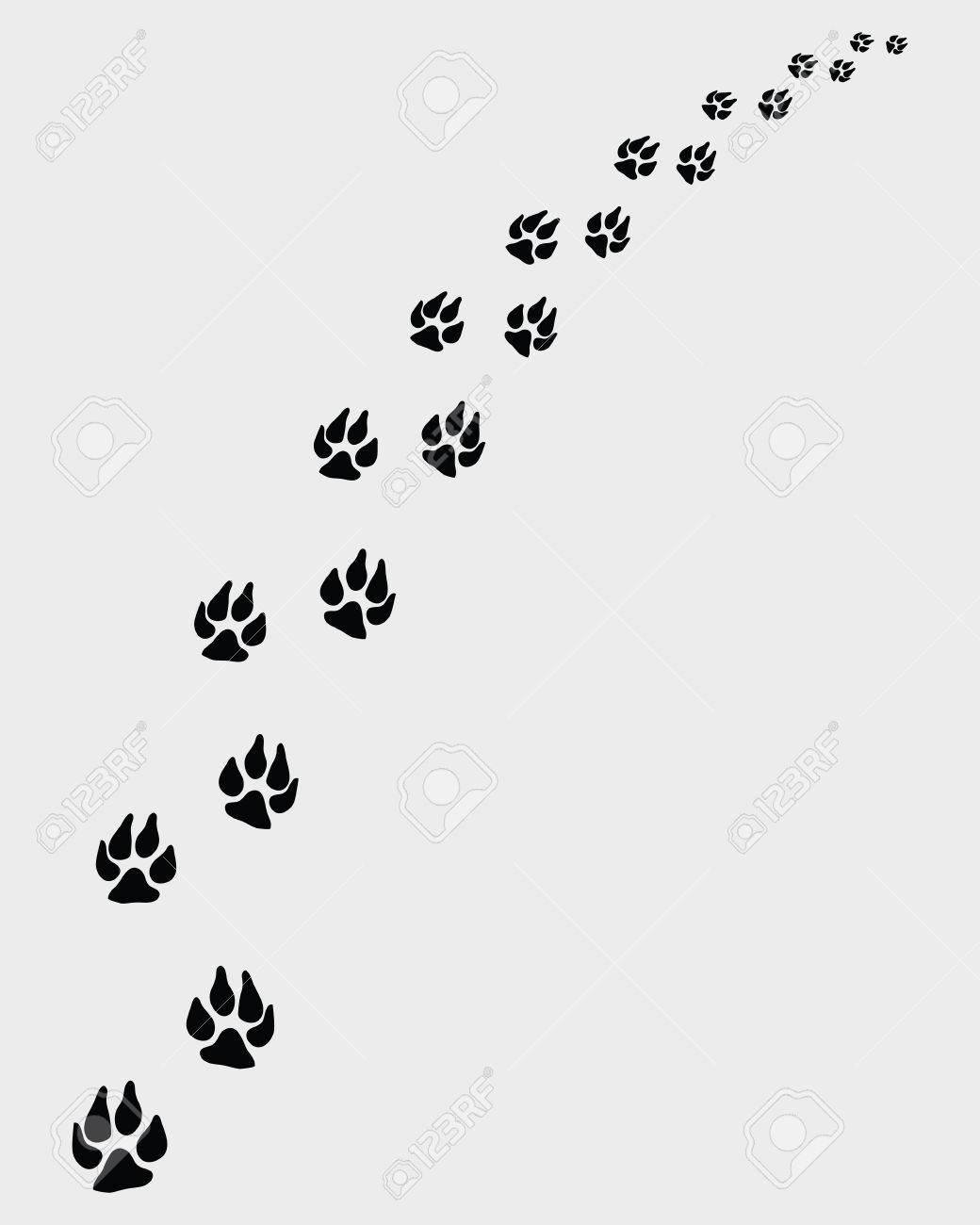犬の足跡のイラストが右に曲がるのイラスト素材 ベクタ Image