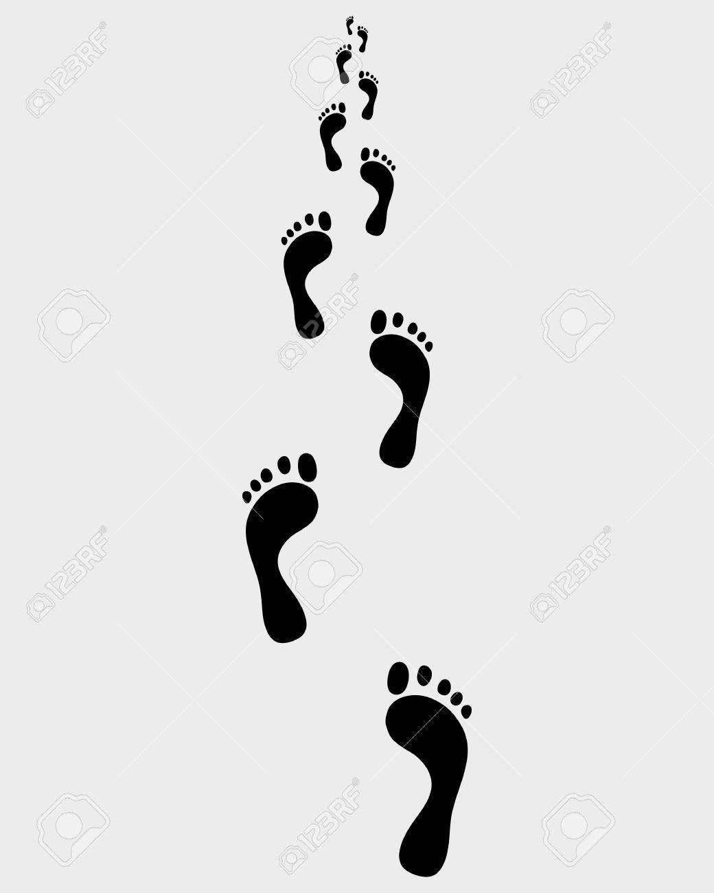 人間裸の足跡、ベクトル図の道 ロイヤリティフリークリップアート
