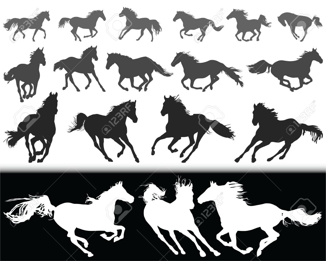 Black silhouettes of horses on a white background and white silhouettes on a black background. - 92536335